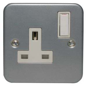 View Marbo 13A 1-Gang Silver & White Switched Socket details