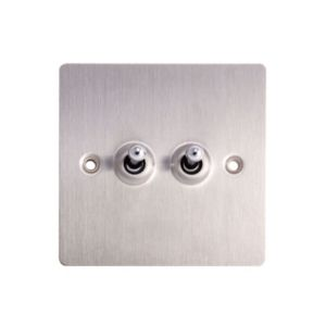 Image of Holder 10A 2-Way Double Brushed steel Toggle switch