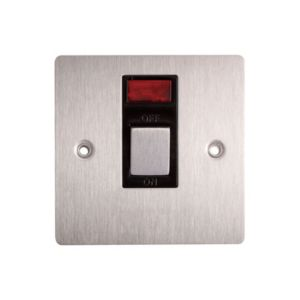 Image of Holder 20A Single Brushed Steel Switch with Neon