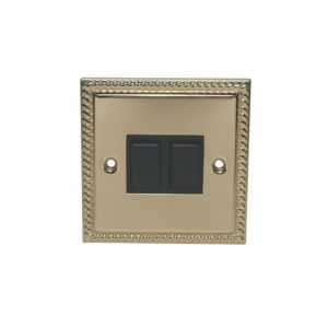 Image of Holder 10AX 2-Way Single Brass-Plated Double Light Switch