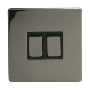 Image of Holder 10AX 2-Way Single Black Nickel Effect Double Light Switch