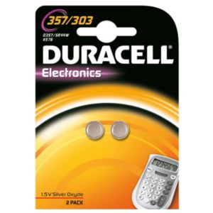 View Duracell Electronics Single Use 357-303 Alkaline Batteries, Pack of 2 details