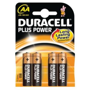 View Duracell Plus Single Use AA Alkaline Batteries Pack of 4 details