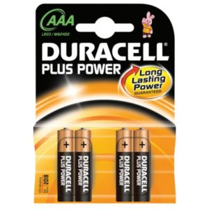 View Duracell Plus Single Use AAA Alkaline Batteries Pack of 4 details