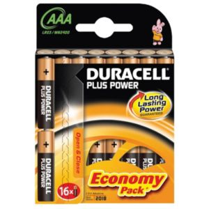 View Duracell Plus Single Use AAA Alkaline Batteries Pack of 16 details