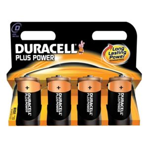 View Duracell Plus Single Use D Alkaline Batteries Pack of 4 details