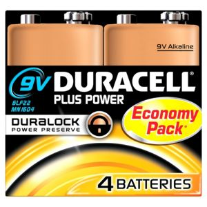View Duracell Plus 9V Alkaline Batteries, Pack of 4 details