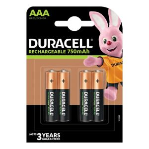 View Duracell Rechargeable AAA Ni-Mh Batteries Pack of 4 details
