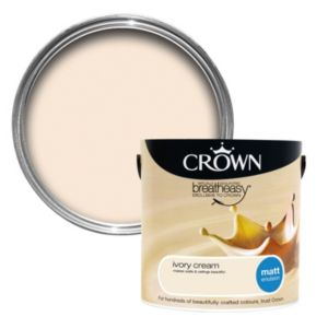 View Crown Breatheasy® Ivory Cream Matt Emulsion Paint 2.5L details