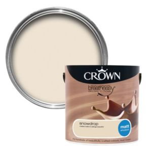 View Crown Neutrals Snow Drop Matt Emulsion Paint 2.5L details
