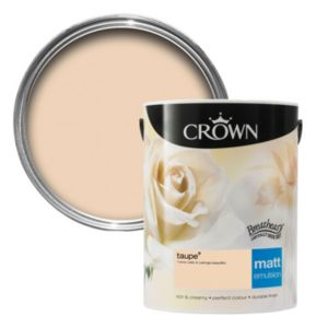 View Crown Breatheasy® Taupe Matt Emulsion Paint 5L details