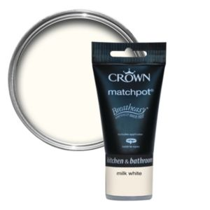 View Crown Breatheasy® Milk White Mid Sheen Emulsion Paint 40ml Tester Pot details