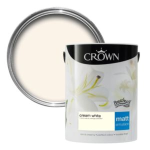 View Crown Breatheasy® Cream White Matt Emulsion Paint 5L details