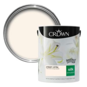 View Crown Breatheasy® Cream White Silk Emulsion Paint 5L details