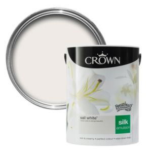 View Crown Breatheasy® Sail White Silk Emulsion Paint 5L details