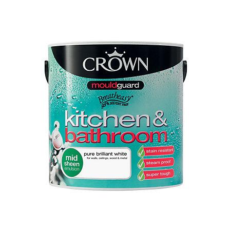 crown kitchen bathroom pure brilliant white satin emulsion paint 2