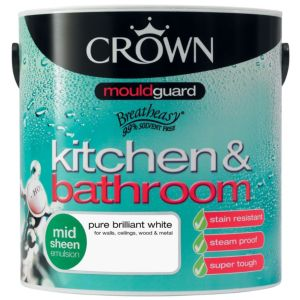 View Crown Kitchen & Bathroom Mouldguard® Pure Brilliant White Satin Emulsion Paint 2.5L details