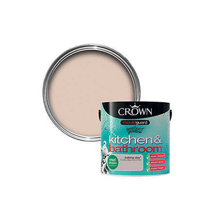 crown kitchen bathroom baking day mid sheen emulsion paint 2 5l