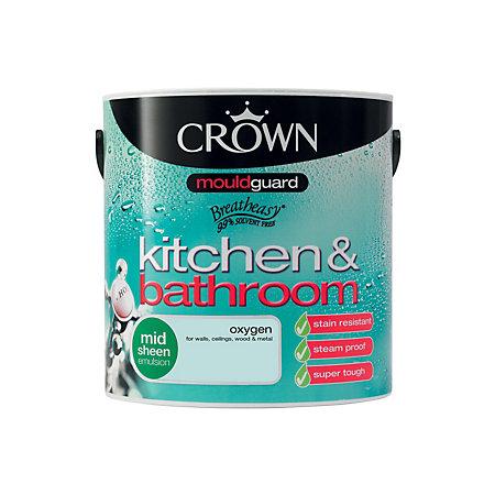 Crown Kitchen & Bathroom Oxygen Mid Sheen Emulsion Paint 2 ...