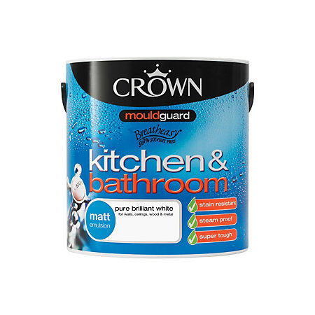 crown kitchen bathroom pure brilliant white matt emulsion paint 2 5l