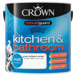 White Bathroom Paint Dulux crown kitchen & bathroom pure brilliant white matt emulsion paint