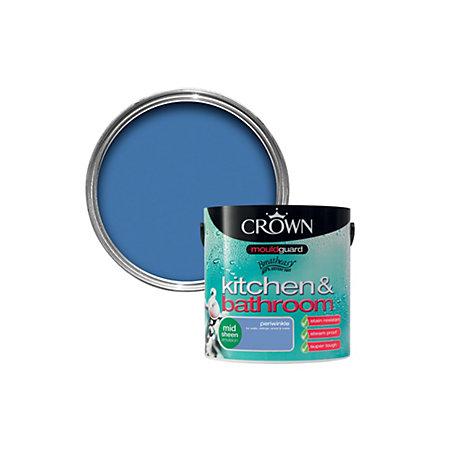 crown kitchen bathroom periwinkle mid sheen emulsion paint 2 5l