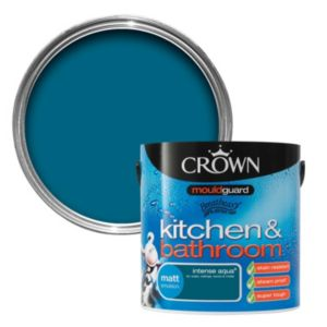 View Crown Kitchen & Bathroom Mouldguard® Intense Aqua Matt Emulsion Paint 2.5L details
