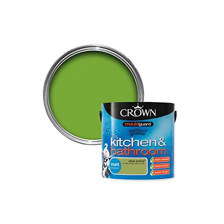 crown kitchen bathroom mouldguard olive press matt emulsion paint