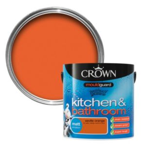 View Crown Kitchen & Bathroom Mouldguard® Seville Orange Matt Emulsion Paint 2.5L details