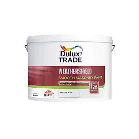 Dulux Trade Weathershield Paint Smooth Masonry Brilliant White L