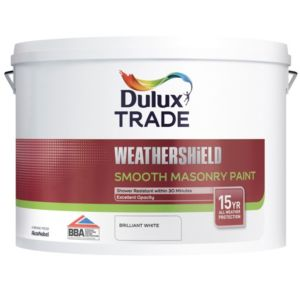 View Dulux Trade Weathershield Pure Brilliant White Smooth Masonry Paint 10L details