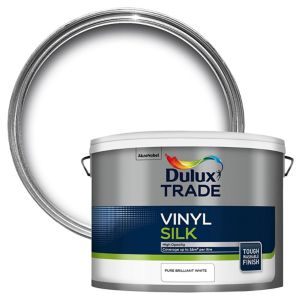 View Dulux Trade Trade Brilliant White Vinyl Silk Emulsion Paint 10L details