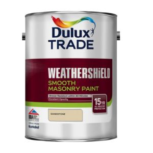 View Dulux Trade Weathershield Sandstone Smooth Masonry Paint 5L Can details