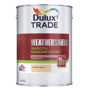 View Dulux Trade Weathershield Country Cream Smooth Masonry Paint 5L Can details