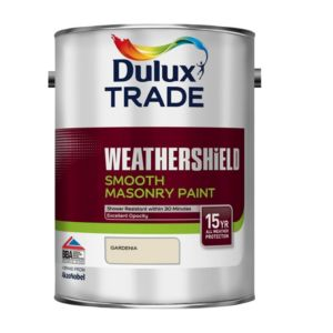 View Dulux Trade Weathershield Gardenia Smooth Masonry Paint 5L Can details