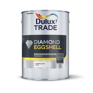 View Dulux Trade Diamond Interior Brilliant White Eggshell Paint 2.5L details