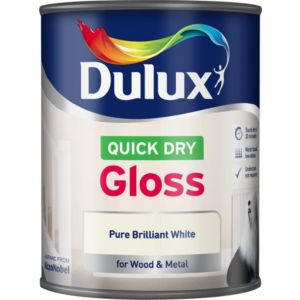 View Dulux Quick Dry Interior Pure Brilliant White Gloss Paint 750ml details