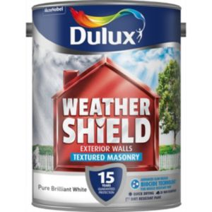 View Dulux Weathershield Pure Brilliant White Textured Masonry Paint 5L details