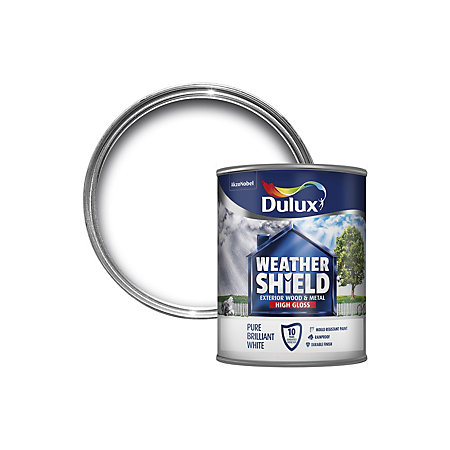 Dulux Weathershield Exterior Pure Brilliant White Gloss Wood Metal Paint 750ml Departments