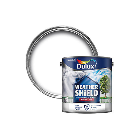 Dulux Weathershield Exterior Pure Brilliant White Gloss Wood Metal Paint 2 5l Departments