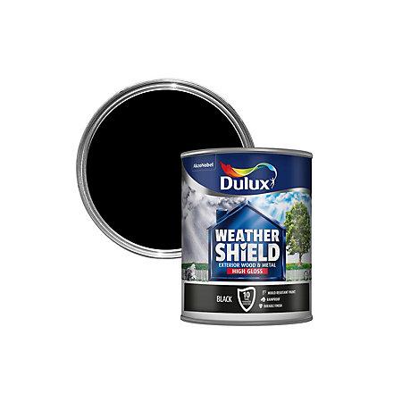 Dulux Weathershield Exterior Black Gloss Wood Metal Paint 750ml Departments Diy At B Q
