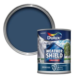 View Dulux Weathershield Exterior Oxford Blue Gloss Paint 750ml details