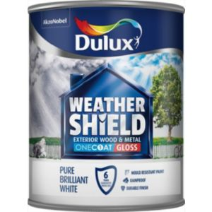 View Dulux Trade Weathershield Exterior Pure Brilliant White Gloss Paint 750ml details