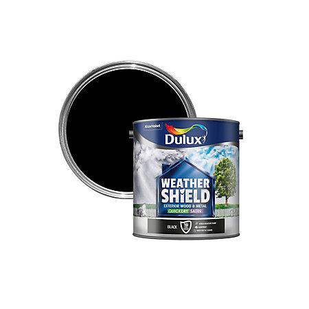 Dulux Weathershield Exterior Black Satin Wood Metal Paint 2 5l Departments Diy At B Q
