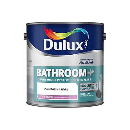 Dulux Bathroom + Pure Brilliant White Soft Sheen Emulsion ...