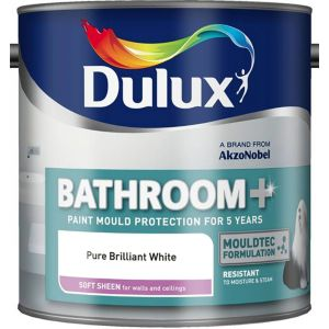 View Dulux Bathroom + Pure Brilliant White Soft Sheen Emulsion Paint 2.5L details