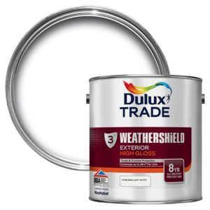Image of Dulux Trade Exterior Pure brilliant white Gloss Wood paint 2.5L