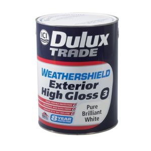 View Dulux Trade Weathershield Exterior Pure Brilliant White Gloss Paint 5L details