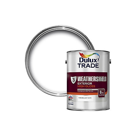 Dulux Trade Exterior Pure Brilliant White Gloss Wood Paint 5l Departments Diy At B Q