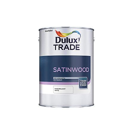 dulux trade internal brilliant white satinwood paint 1l. Black Bedroom Furniture Sets. Home Design Ideas